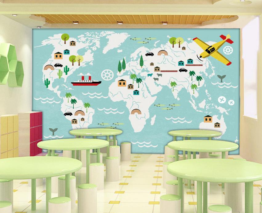 Papel Pintado Mural Mural Pintado Vellón Animación Del Mapa Mundial 1 Paisaje Fondo Pantalla 8b872d