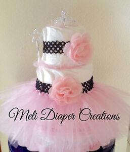 Baby Girl Diaper Cake Princess with Tutu 3 tier diaper cake Baby
