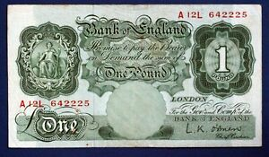 "1955 British Bank of England £1, Banknote, O'Brien Prefix ""A12L"" [17393]"