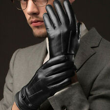 Black Men Winter Leather Motorcycle Full Finger Touch Screen Warm Gloves