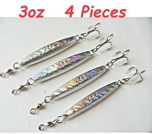 6 Pieces 1oz Diamond Jigs Holographic Laser Fishing Lures w//Treble Hooks
