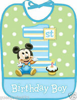 Disney Mickey Mouse 1st Birthday Large Bib 1ct Party Favor