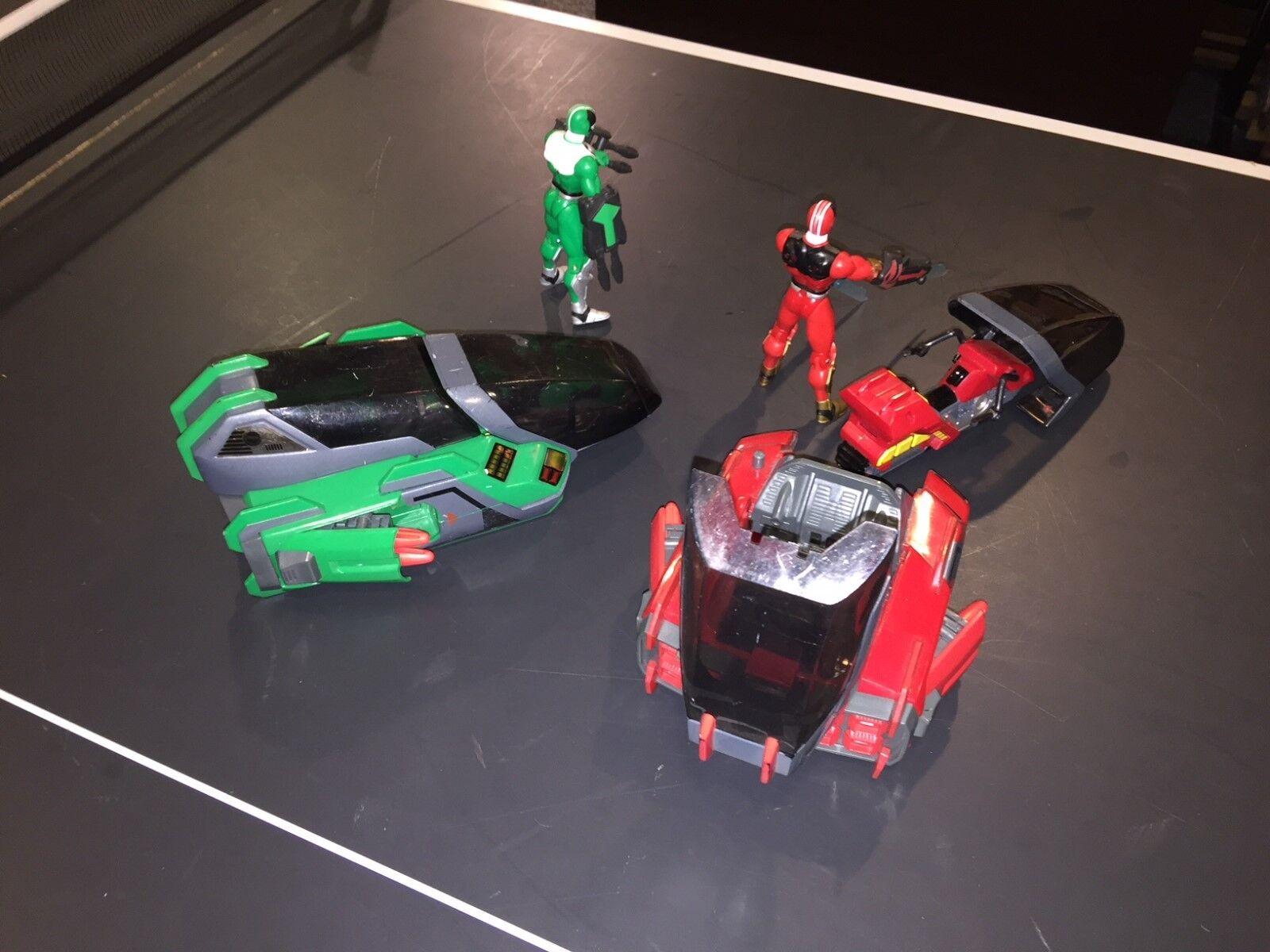 Power Rangers Lost Galaxy Red & Green Ranger Galactic Speeder Speeder Speeder Vehicles (2) Set 476711