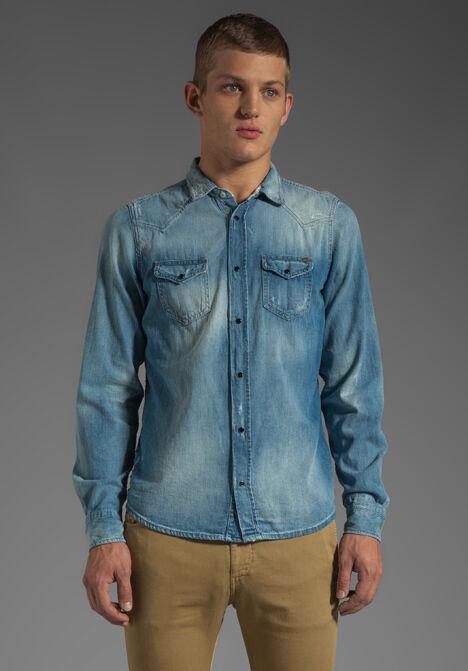 Diesel SONORA Men's Distressed Modern Fit Denim Shirt bluee 00S0XE00JXK