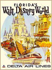 Orlando Walt Disney World Delta Airlines Vintage Travel Advertisement Poster