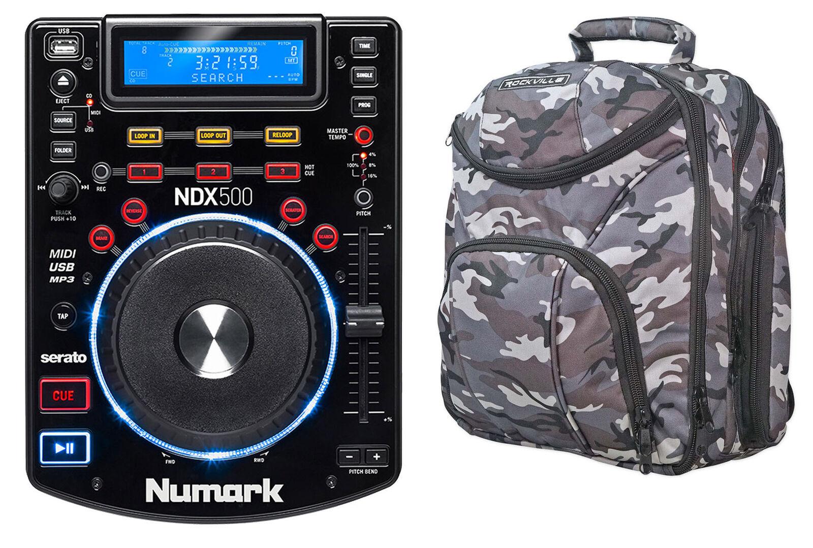 Numark NDX500 DJ Tabletop USB CD Media Player Software Controller+Gear CAMOPACK