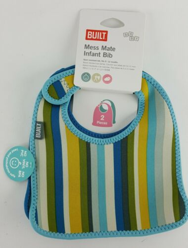 2 PACK BUILT MESS MATE BABY INFANT BIB STAIN RESISTANT 0-12 MONTHS BPA FREE BLUE
