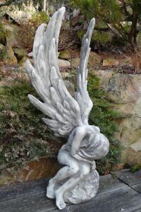 Engel-034-Athene-034-Steinfigur-Vidroflor-Gartenfigur-Gartendeko-Steinguss-Statue