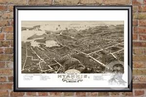 Vintage-Hyannis-MA-Map-1884-Historic-Massachusetts-Art-Victorian-Industrial