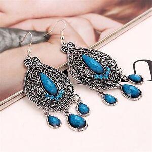 Women-Vintage-Retro-Boho-Blue-Bohemian-Party-Ethic-Earrings-Ear-Hook-Drop-Dangle