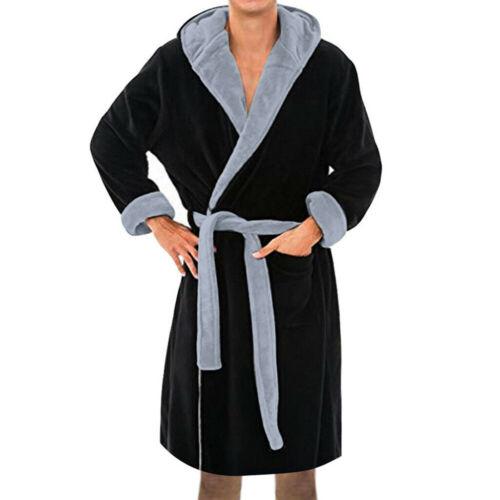 Mens Winter Hooded Bathrobe Towelling Dressing Gown Soft Fleece Lounge Bath Robe