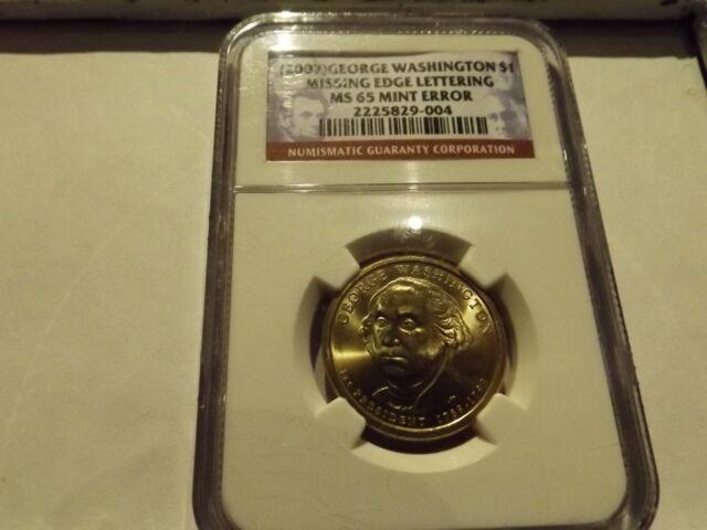 (2007) $1 Missing Edge Lettering George Washington Presidential Dollar