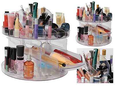NEW REVOLVING GLAMOROUS CADDY COSMETIC ORGANIZER MAKE UP BOX JEWELLERY HOLDER