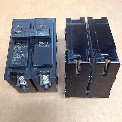 CHALLENGER//SYLVANIA BR220 C220 2 pole 20 amp CIRCUIT BREAKER flawed