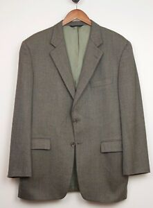 Burberry-London-Wool-Cashmere-Sport-Coat-44R-Brown-Herringbone-Subtle-Plaid