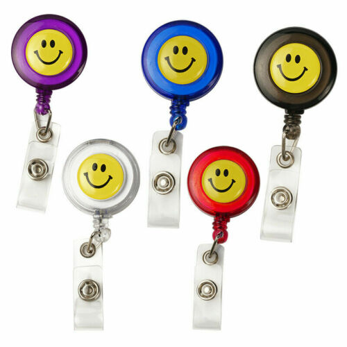 Smiling Face Retractable Pull Chain Badge IDHolder Reel Recoil Key RingClip O5Q8