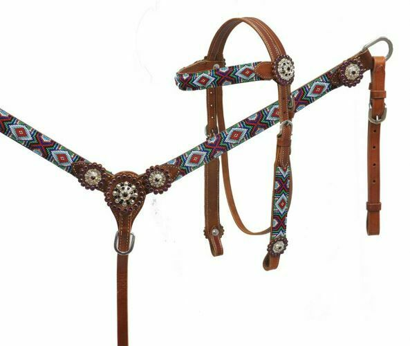 NEW  BEAUTIFUL  Showman Beaded Headstall and Breast Collar Set. FREE SHIPPING