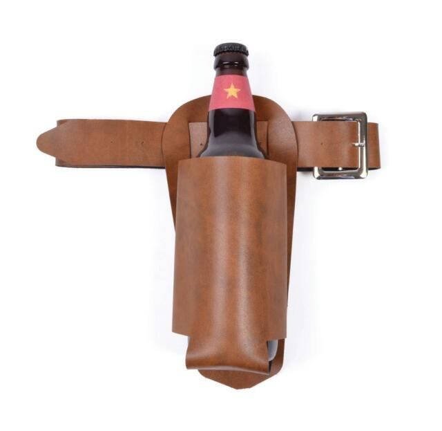 Adult Brown Beer Bottle Holster Fancy Dress Wild West Party Western Accessory