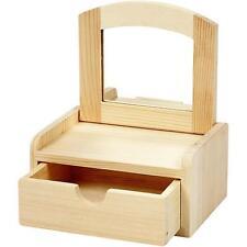 Pine wood flip lid trinket box with mirror WC571 dresser jewellery storage ring