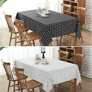 Image Is Loading Cotton Linen Print Check Grid Tablecloth Cover Table