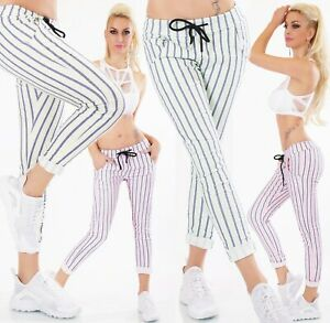 Italy-pantalones-baggy-chino-elastico-tiempo-libre-pantalones-a-rayas-Neon-rayas-34-38
