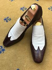 Gucci Mens Shoes Brown White Leather Loafers UK 11 US 12 EU 45 Made in Italy