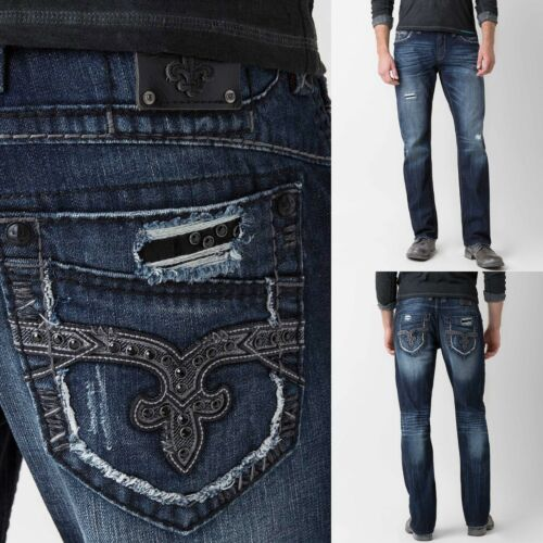 Mens Rock Revival Jeans Mid Rise Luckett Relaxed Straight Embellished 29 36 38