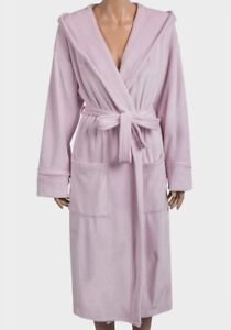 Dusky-Pink-Stretchy-Fleece-Robe-Hooded-Dressing-Gown-Super-Soft-8-10-12-14-16-18