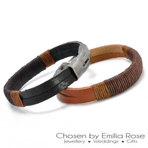 Mens Black Or Brown Real Leather Hemp Bracelet Wrap Around Strap
