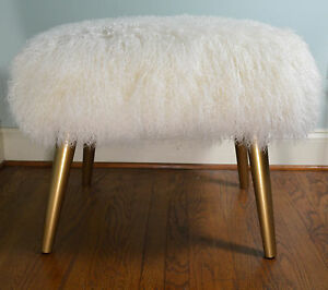 Real Mongolian Lamb Bench Stool Gold Wood Legs With