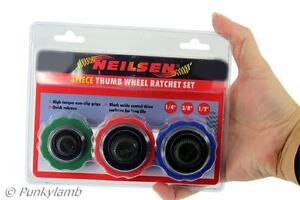 3pc-Thumbwheel-Palm-Ratchet-Wrench-Socket-Adapter-Tool-Set-1-4-034-3-8-034-1-2-034-New
