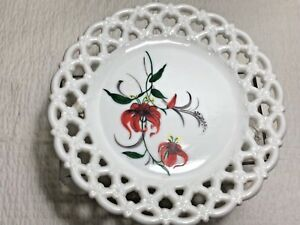 Westmoreland-White-Milk-Glass-Plate-with-Hand-Painted-flowers