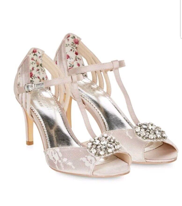 Monsoon Bridal Amelia T Bar Brooch Heel Sandals Size EU 37