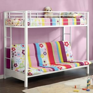 Walker Edison Btofwh Twin Over Futon Metal Bunk Bed White Ebay