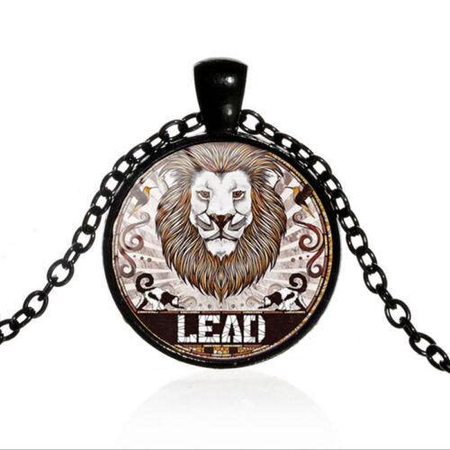 Vintage lion pendentif cabochon verre Noir Chaîne Collier Pendentif