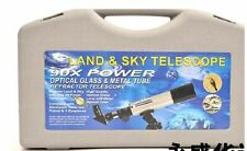 90X ASTRONOMICAL LAND & SKY TELESCOPE OPTICAL GLASS METAL TUBE REFRACTOR & STAND