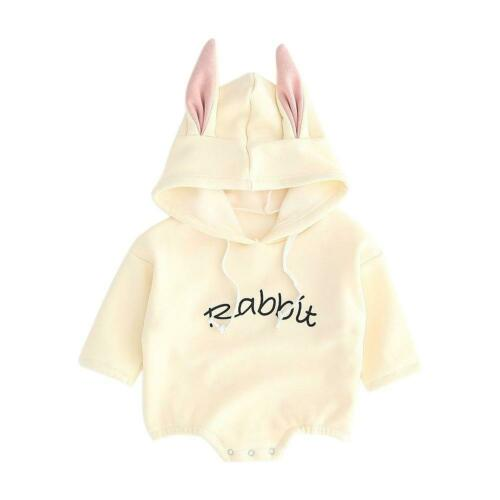 Newborn Baby Girl Spring Autumn Clothes Long-Sleeve Hooded Letters Jumpsuit E0Xc