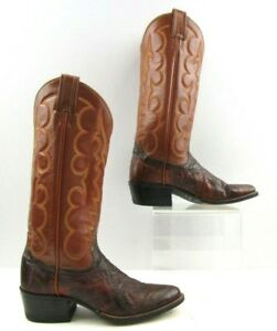 3af326e13bf Details about Ladies Tony Lama Brown Eel Leather Cowboy Western Boots Size:  5 B