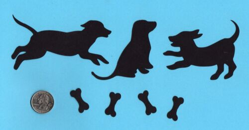 Cricut Silhouette Die Cuts 6 silhouette dogs with 8 bones you choose color