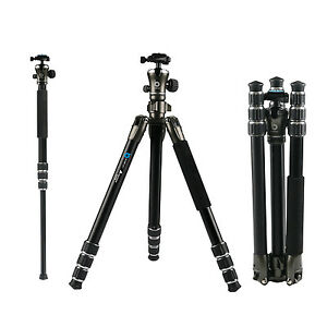 BONFOTO-B671A-Professional-Aluminum-Tripod-Monopod-Ball-head-For-DSLR-Camera