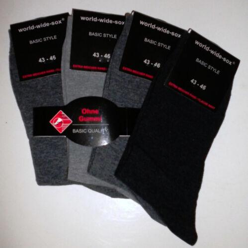 senza elastico grigio-Toni 1b2 4 8 o 16 paia di calze da uomo piquebund Baumw