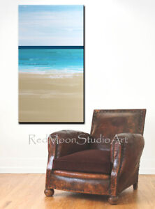 48x24-Abstract-Art-Painting-Beach-Coastal-Turquoise-Blue-Green-US-Artist