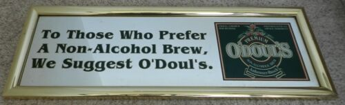 "1992 O'Doul's Non Alcoholic brew mirrored Sign 25"" X 7.5"" metal framed 794147"
