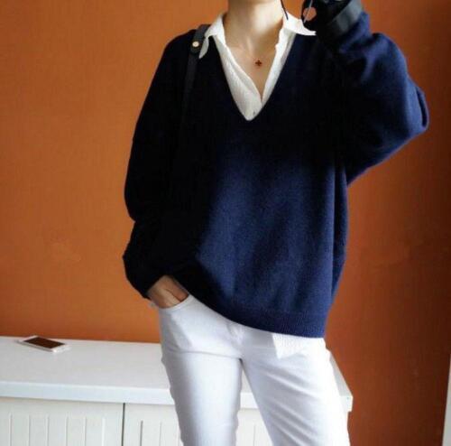 Womens Cashmere Deep V-Necked Sweater Long Sleeve Coat Korean Slim Tops Outwear