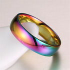 Lovers Charming Rainbow Smooth Stainless Steel Rings Band Men/Women Couple #7-13