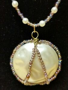 New-Handmade-purple-glass-beaded-necklace-w-white-faux-pearl-Pendant-bracelet