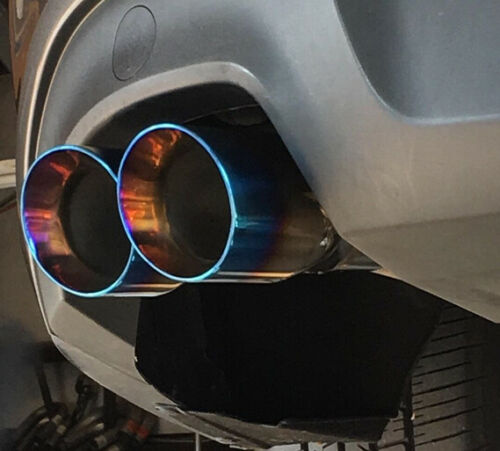 """2.5/"""" Inlet 3.5/"""" Dual Outlet Exhaust Tip Round Cut Blue Burnt 304 Stainless Steel"""