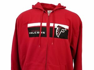 the latest f58f1 2fdec Atlanta Falcons Red NFL Majestic Full Zip Hoodie NEW Mens ...