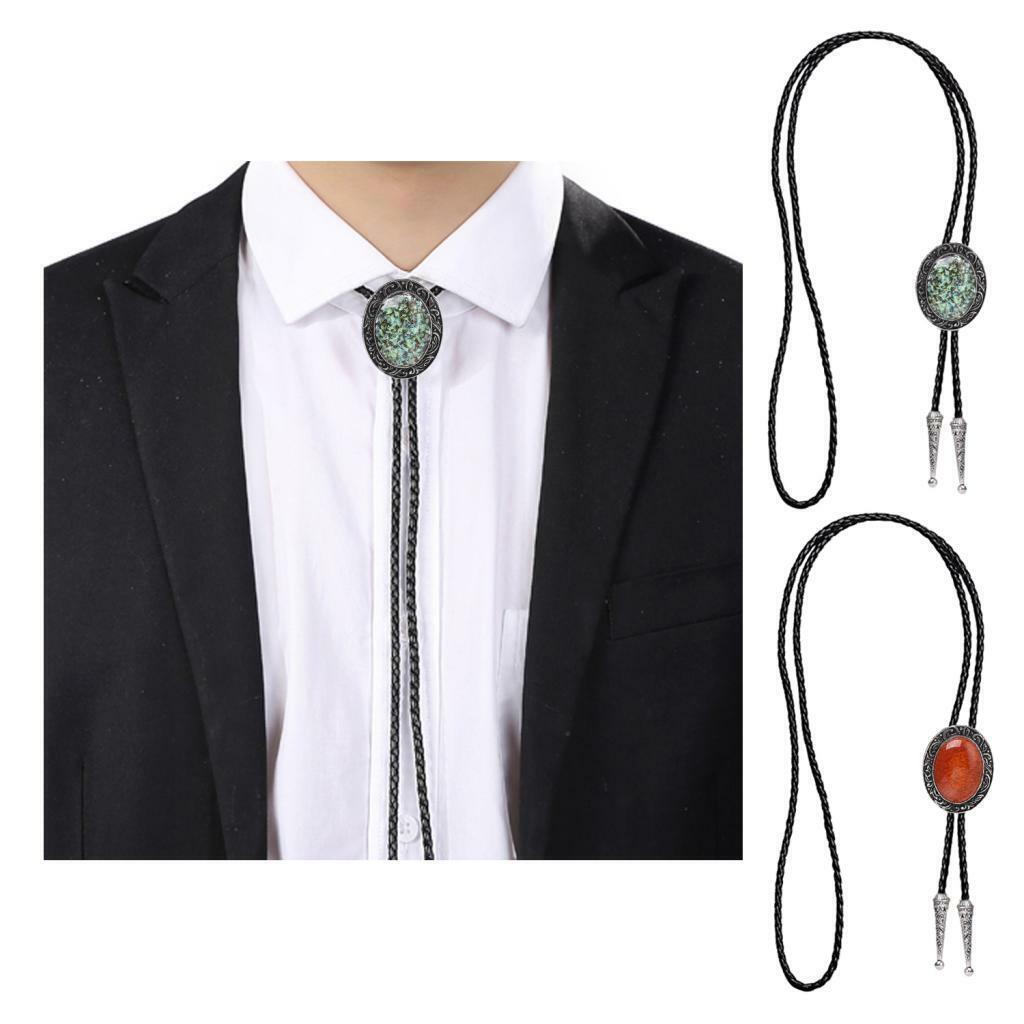 Leder Harz Opal Bolo Krawatte Silber Metall Western Cowboy Krawatte Schmuck