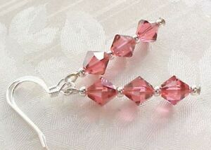 LIVING-CORAL-Earrings-Salmon-Pink-Handmade-in-USA-w-Swarovski-Crystal-Components